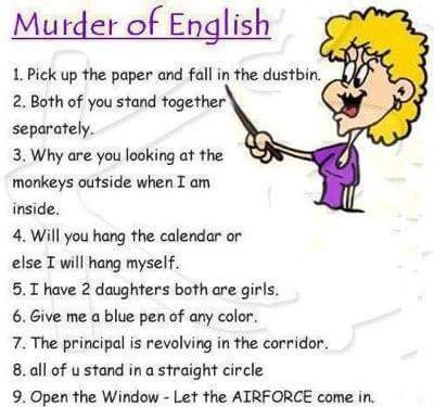 Murderously funny English.